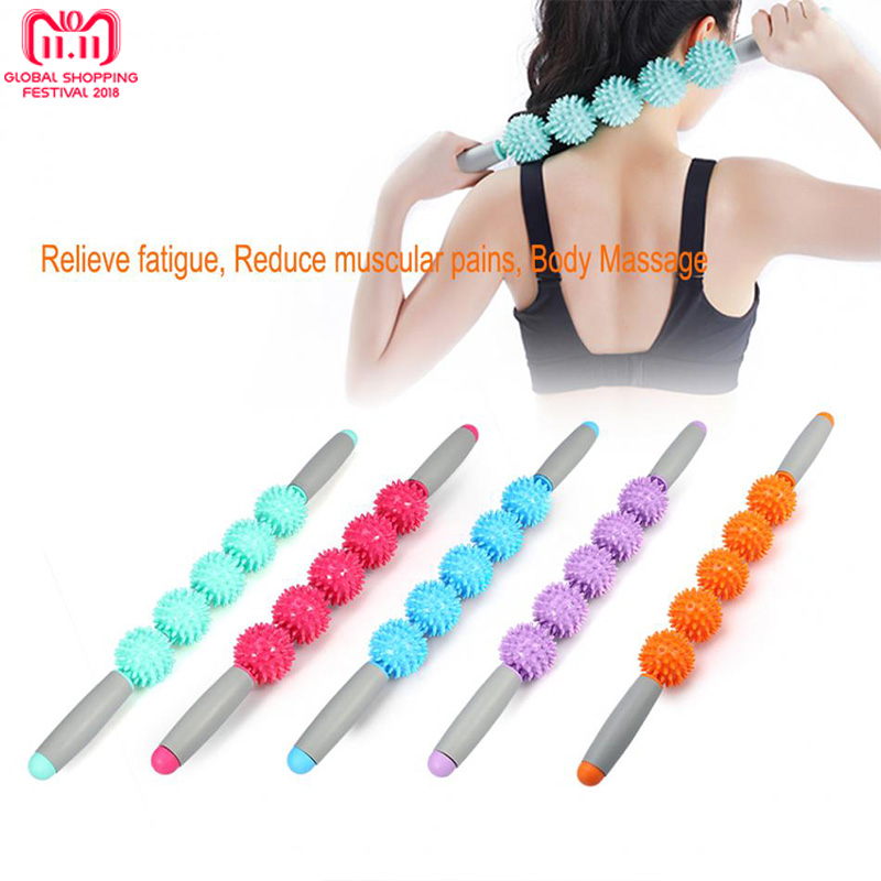 PVC 5 Balls Massager Stick Anti Cellulite Stick Muscle Training Massage Stick Yoga Trigger Point Roller Massager Fat Lose Weight muscle relaxation massage roller solid fitness yoga roller body leg back muscle trigger point massage stick roller yoga roller