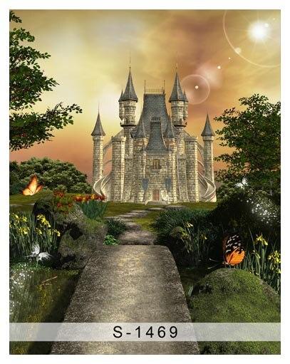 Custom vinyl print cloth fairy land castle photography backdrops for children photo studio portrait backgrounds props S-1469 custom vinyl print cloth school blackboard photography backdrops for children photo studio portrait backgrounds props s 1467