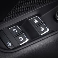 7 sztuk Chrome szyba okienna podnośnik obudowa na przyciski nadające się do Audi A3 8V A4L A6L Q3 Q5 2014-16 wewnętrzny podłokietnik naklejka dekoracyjna tanie tanio Pokrętło Z tworzywa sztucznego Fit for Audi A3 8V A4L A6L Q3 Q5 2014-16