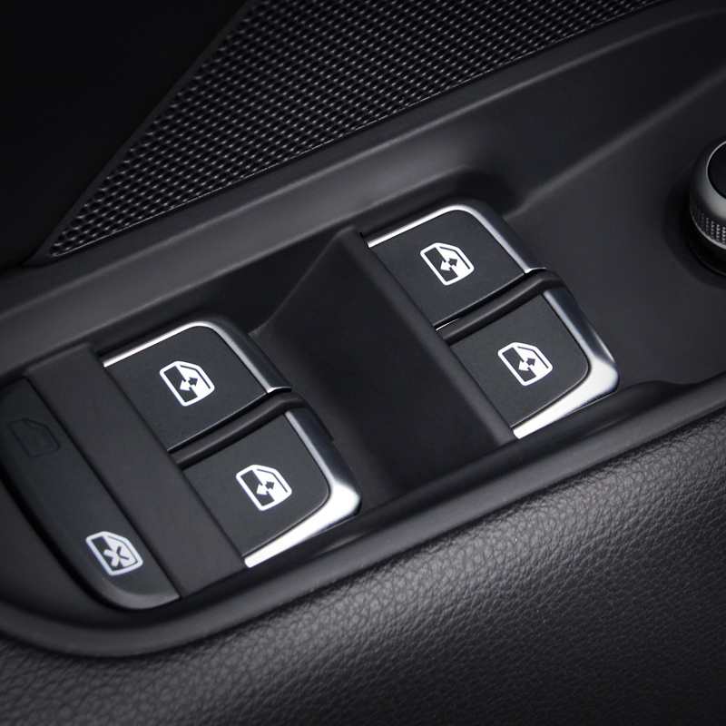 7pcs Chrome Window Glass Lifter Buttons Cover Trim Fit for Audi A3 8V A4L A6L Q3 Q5 2014-16 Interior Armrest Decoration Sticker