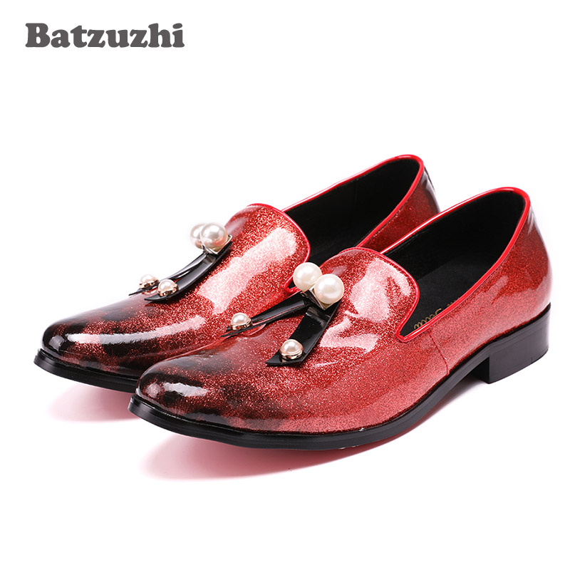 Batzuzhi Luxury Fashion Shoes Men Light Red Leather Mens Loafers with Tassel Wedding and Party Casual Shoes Men Zapatos Hombre high quality 2016 new design unique genuine leather men shoes zapatos hombre snake luxury brand formal casual mens loafers shoes