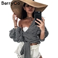 BerryGo hombro ruffle blanco blusa Sexy de algodón fresco camisa de la blusa de las mujeres de Invierno 2016 mujer sandalia top tees blusas