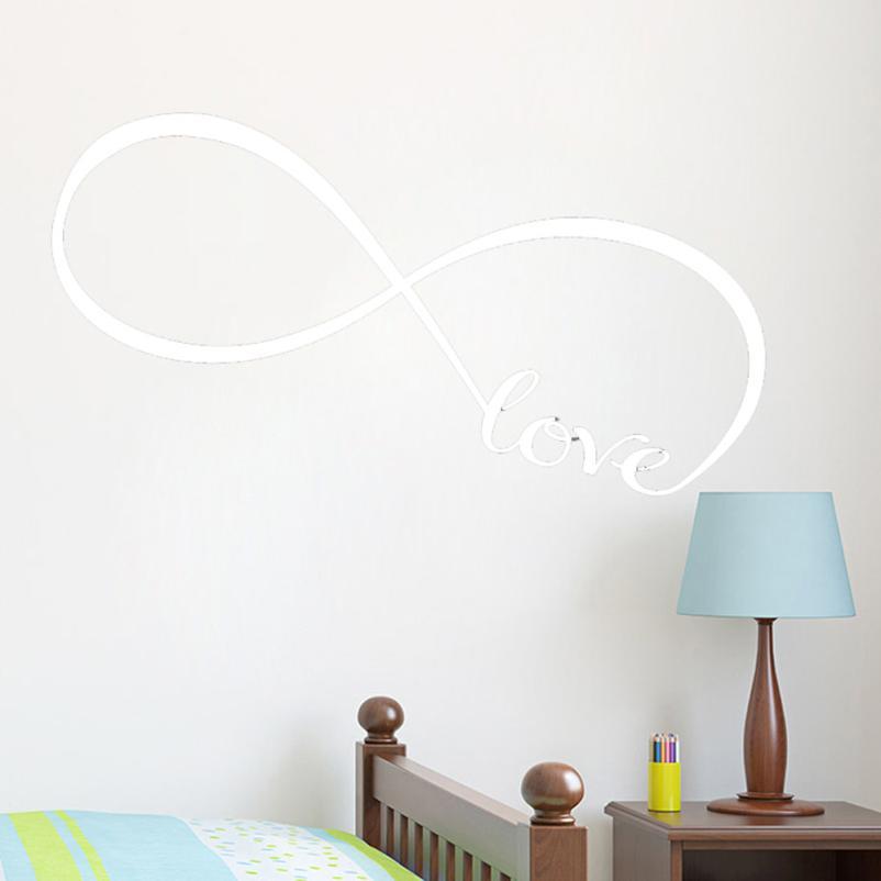 Beautiful Creative Smart 44*110CM Bedroom Wall Stickers Decor Infinity  Symbol Word Love Vinyl Art Wall Decals Muursticker