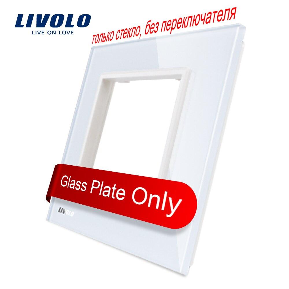 Cristal de perla blanca de lujo Livolo, 80mm * 80mm, estándar europeo, Panel de vidrio único para toma de interruptor de pared, VL-C7-SR-11