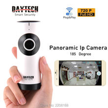 Daytech WiFi IP Camera Home Security Camera Mini Monitor Panoramic Camera Two Way Intercom Night Vision Fish Eye Lens DT-C185