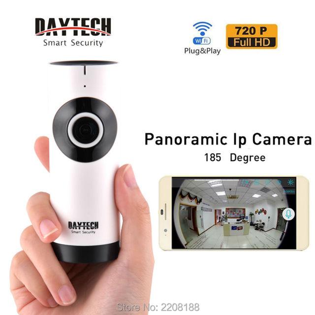 Daytech WiFi Mini Câmera de Segurança Em Casa Câmera IP Monitor Da Câmera Panorâmica em Dois Sentidos Intercom Night Vision Lente Olho de Peixe DT-C185