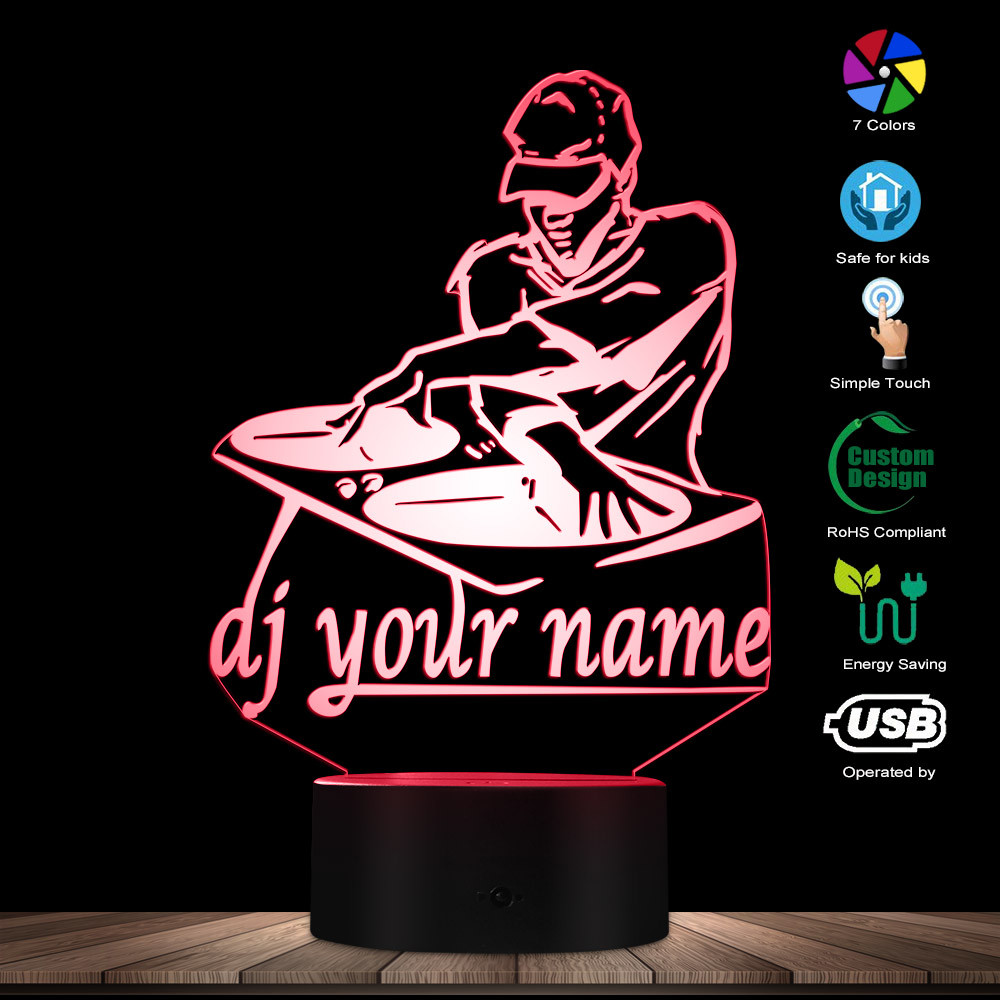 Disco DJ LED Night Light Creative Table Lamp DJ Turntable Personalised Custom Your Name Music Club Party Decorative Lighting