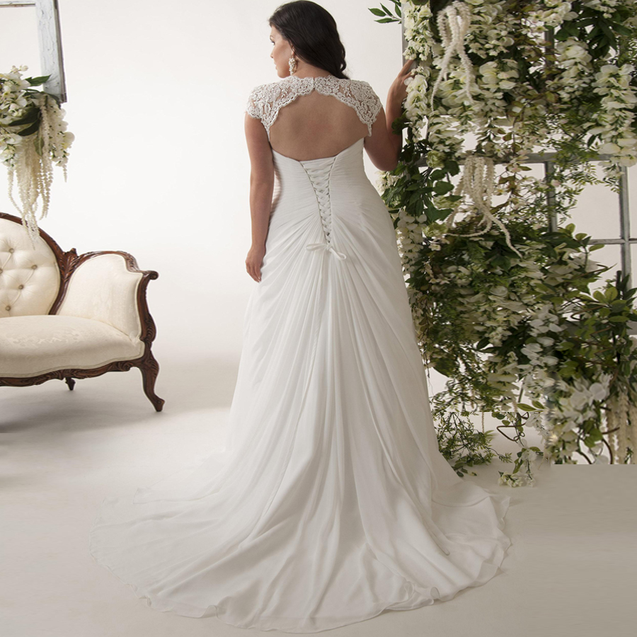 Image 2 - Elegant Plus Size Wedding Dresses V neck Cap Sleeves Robe de Mariage 2019 Sweep Train Appliqued Open Back Chiffon Bridal Gown-in Wedding Dresses from Weddings & Events