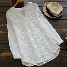 цена на Oversized Floral Embroidered Shirt Blouse Women V-Neck Long Shirts White Lace Sweet Long Sleeve Blouse Shirt Femme