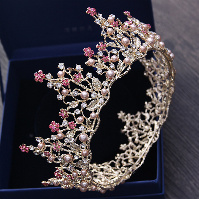 Bridal Tiaras and Crowns Crystal Pearl Pink Flower Gold Leaf Round Crown Women Wedding Bride Big Crown Hair Accessories Hairband