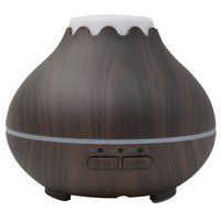 Ultrasonic Air Humidifier With Wood Grain Aroma Essential Oil Diffuser Color Changing LED Lights For Office