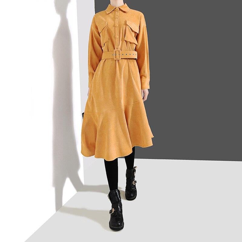 Johnature En Velours Côtelé Robe Femmes Office Lady Vêtements 2019 Printemps Couleur Unie À Manches Longues Bandage Robe High Street Chemise Robe
