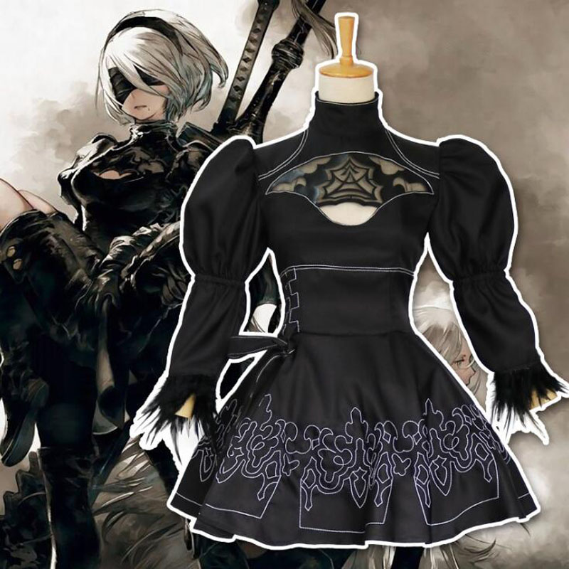 Nier Automata 2B Cosplay Anime Women Costume Set Outfit Yorha Disguise Dress Fancy Halloween Girls Party Black Suit