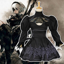 Nier Automata 2B Cosplay Anime Women Costume Set Outfit Yorha Disguise Dress Fancy Halloween Girls Party Black Suit(China)