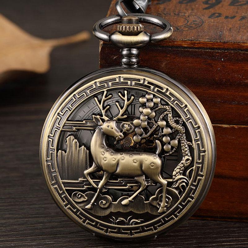 Vintage Bronze Deer Mechanical Pocket Watch Men Steampunk Hollow Unisex Skeleton Fob Hand Watch Chain Necklace Black Watch Gift