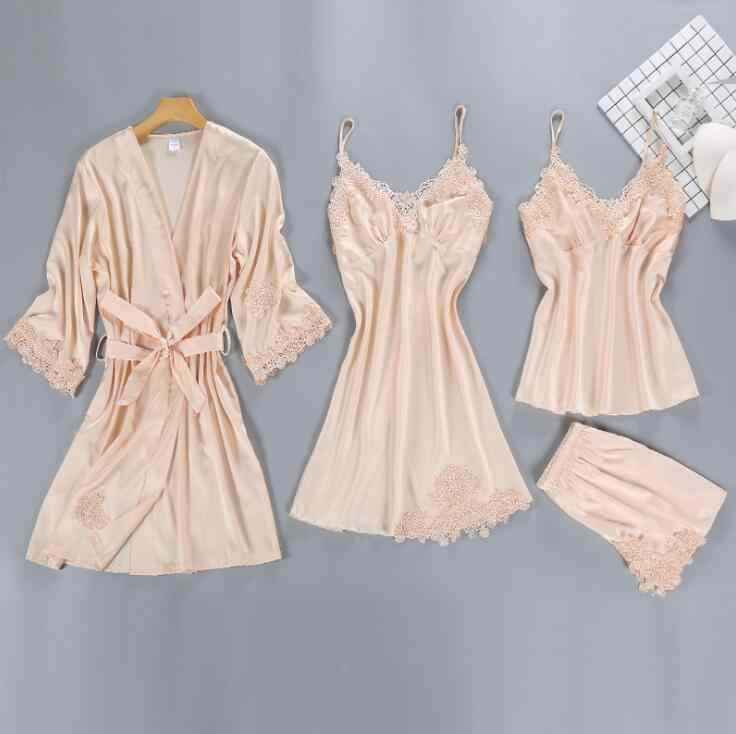 70bc3f5a1c0a ZOOLIM Satin Sleepwear Female with Chest Pads Sexy Women Pajamas Sets Lace  Pijama Slik Sleep Lounge
