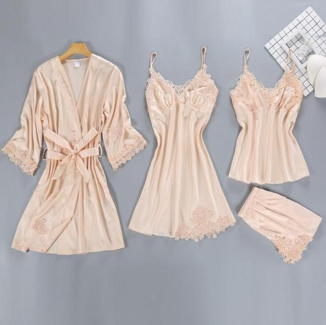 ZOOLIM Satin Sleepwear Female with Chest Pads Sexy Women Pajamas Sets Lace Pijama Slik Sleep Lounge 4 Pieces Ladies Pyjama