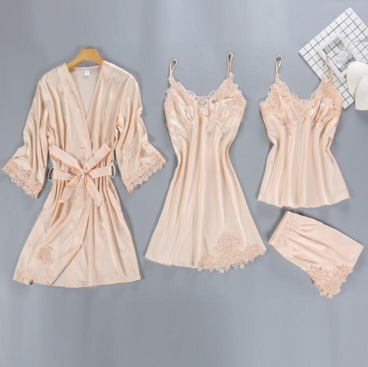 ZOOLIM Satin Sleepwear Female with Chest Pads Sexy Women   Pajamas     Sets   Lace Pijama Slik Sleep Lounge 4 Pieces Ladies Pyjama