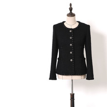 Handmade Luxury Blazer Suits for Women Fashion Wool Tweed O Neck Single Breasted