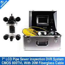 20M Fiber Glass Cable Rotate 360 Degree Night Vision Camera Pipe Inspection Camera with 7 Inch