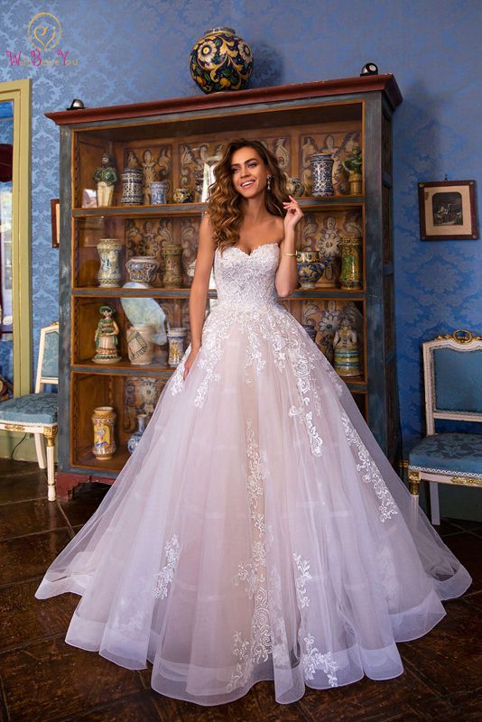 New Arrival Wedding Dress Sweetheart Neck Strapless Sexy Backless Lace-up Tulle Appliques Elegant Ball Gown Custom Size Made
