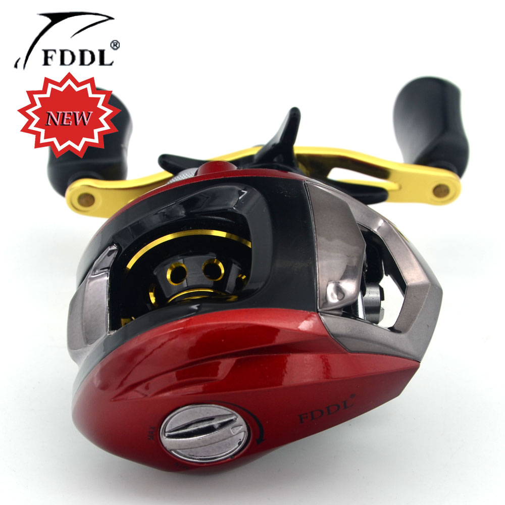 ФОТО New Arrivals (Left and Right) Magnetic Brake 10+1BB Ball Bearings Hand Bait Casting Fishing Reel Red and Yellow Free Shipping