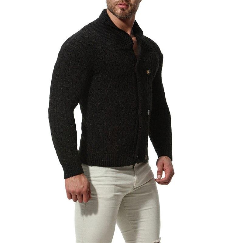 2018 automne hiver hommes épais mince chandail mode mélange de coton couleur unie Cardigan manteau pour homme M-2XL