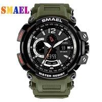 SMAEL New S Shock Men Sports Watches Big Dial Quartz Digital Watch For Men Luxury Brand LED Military Waterproof Men Wristwatches