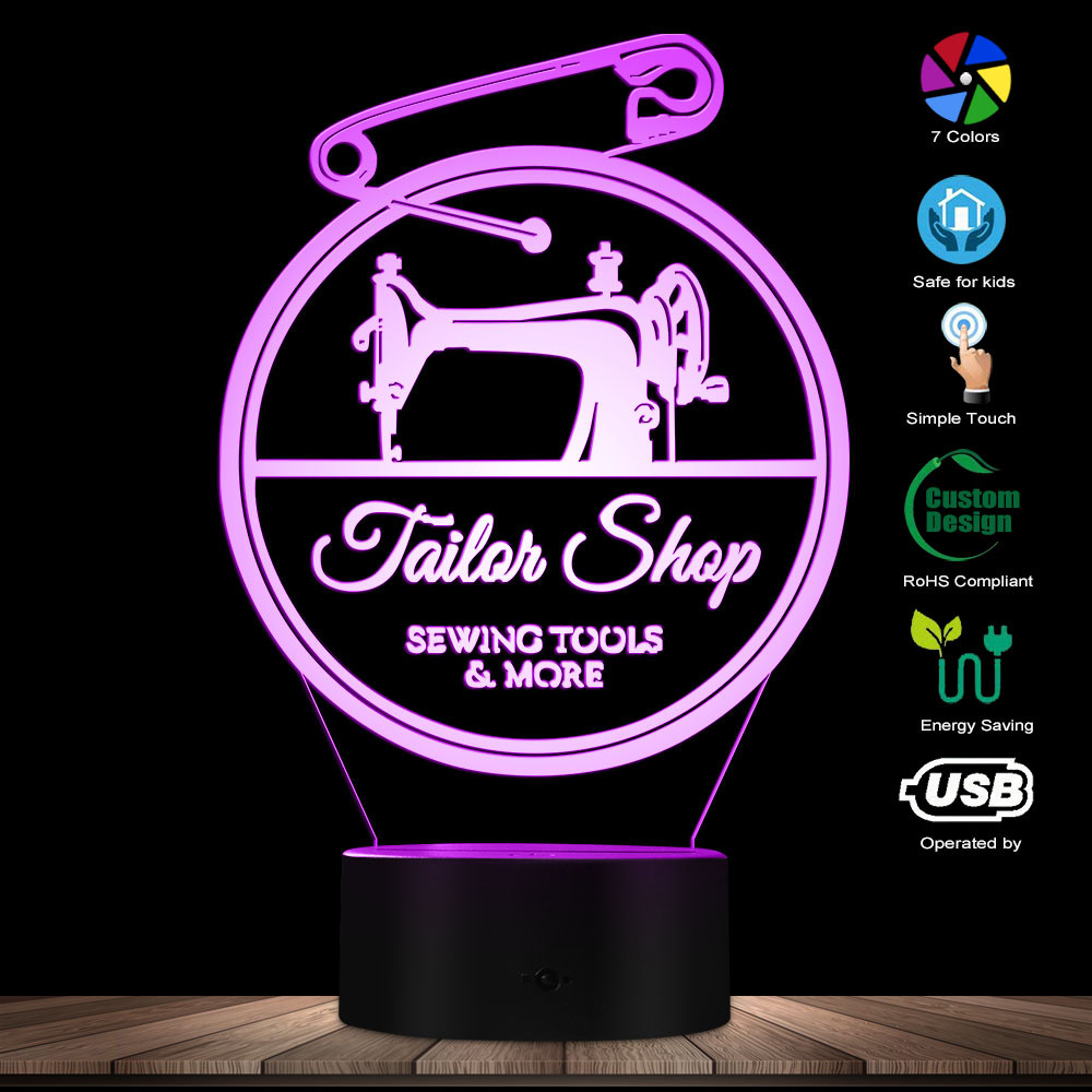 Tailor Shop Sewing Tools 3D Optical Illusion Novelty Light Sewing Machine Seamstress Decorative Lighting Sleepy Light Table Lamp