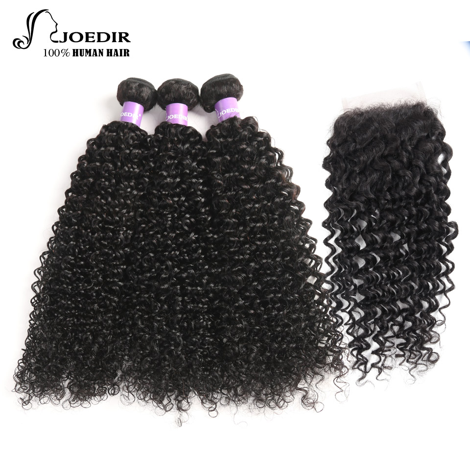 Brazilian Curly Bundles With Closure Joedir Kinky Curly Human Hair Bundles With Closure Non Remy 3 Bundles With Closure