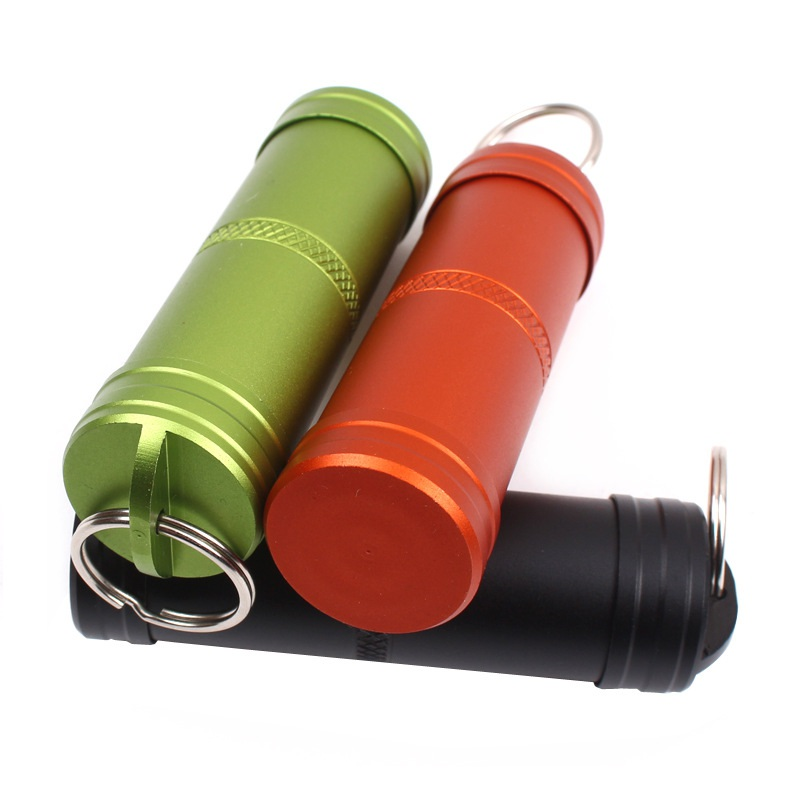 Camping Survival Waterproof Pills Box Container Aluminum Medicine Bottle Key Chain Outdoor Emergency Gear Tool Travel Kits