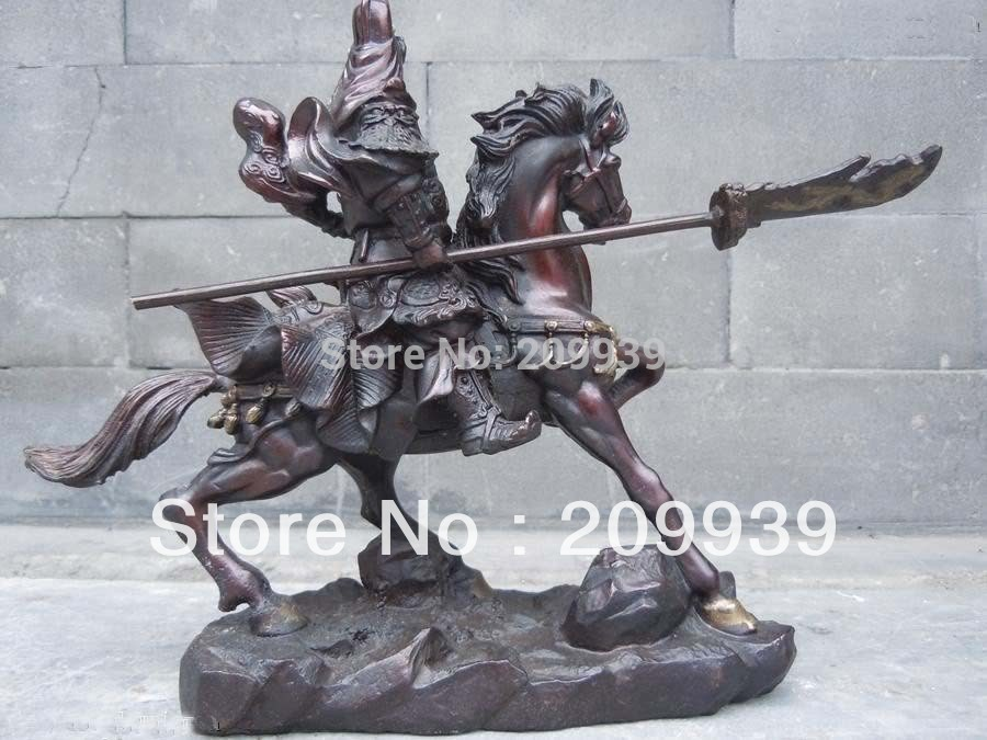 huij 00158 Chinese red bronze carved ride on horse GuanGong statue (A0314)|Statues & Sculptures|Home & Garden - title=