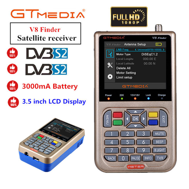 3.5inch Screen V8 Finder Full HD 1080P Digital Satellite Network TV Receiver DVB S/S2 MPEG 4 Multilingual Sat Meter Receptor