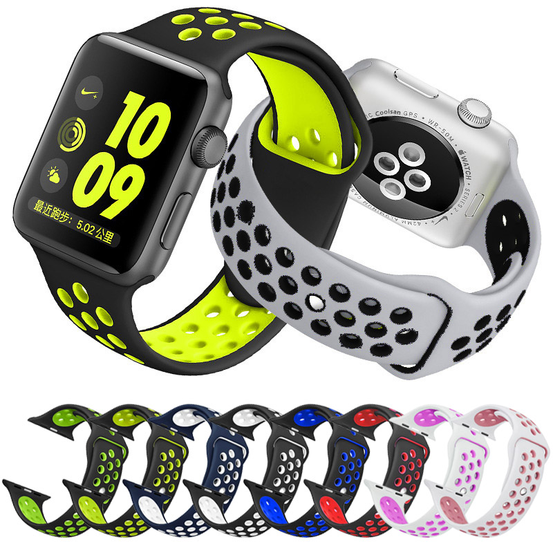 High quality 42mm 38mm strap for iwatch sports link Bracelet for Apple Watch Nike Original bracelet band Silicone series 3&2&1