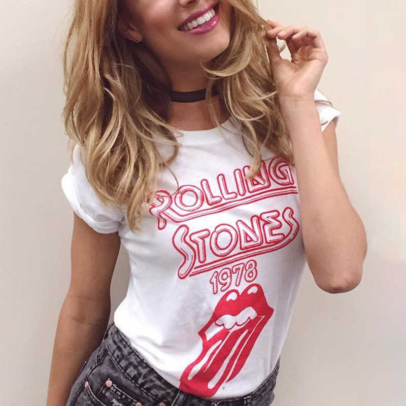 09916edf0f Rolling Stones 1978 T Shirt Women O neck Short Sleeve Tops Letter of the  Alphabet Lips Tongue Lady T-shirt