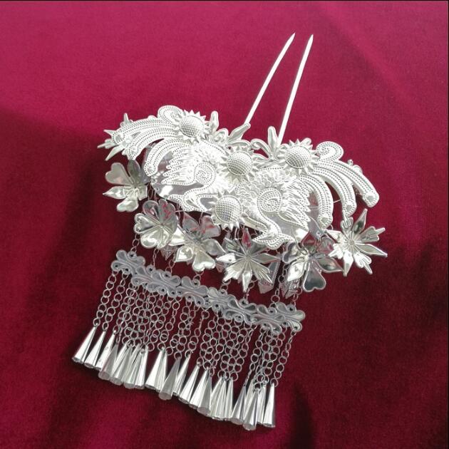 Miao Silver Hair Accessories For Women Tassel Hairpin 15*18CM
