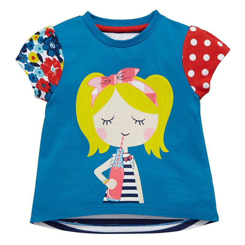 Little Maven New Summer Kids Clothing Short O-neck Blond Girl Knitted Striped Cotton Quality Girls Casual Tshirt