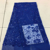 Nigerian lace fabric 2018 high quality lace pink French Stones Net Lace Fabric HJ464 2