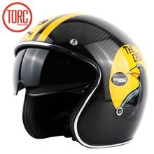 2017 TORC мотоциклетный шлем ретро автомобиль углеродного волокна кожаная подкладка большой встроенный объектив с глаз groove ретро шлем ЕЭК