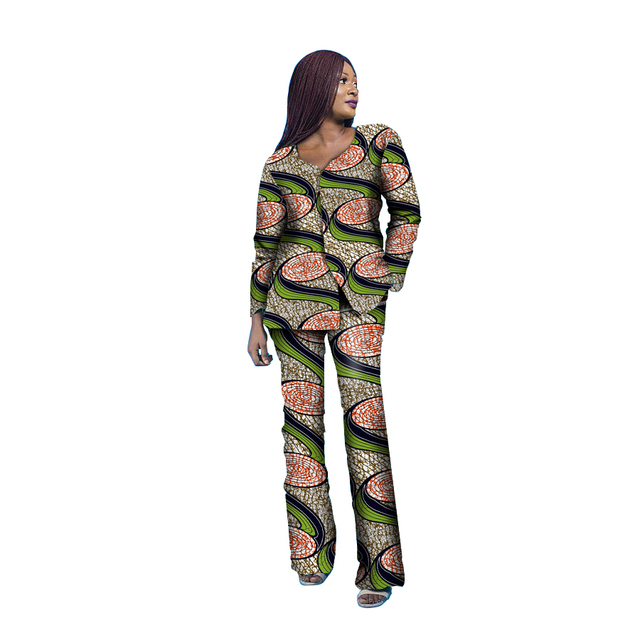 African print Tops+Full Length pants Set Ladies Suits African Women Two  Pieces African Clothing Plus Party Costume Customize b215969a3f56