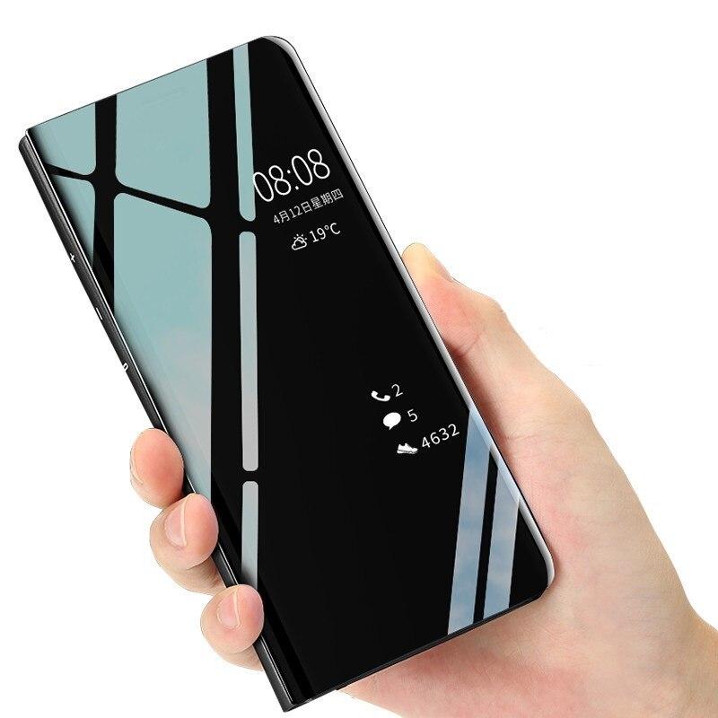Miroir intelligent Flip Téléphone étui pour samsung Galaxy J8 J7 MAX 2018 J6 J4 Plus J3 J2 Pro 2018 Vue dégagée Housse Pour Galaxy j5 j3 2017
