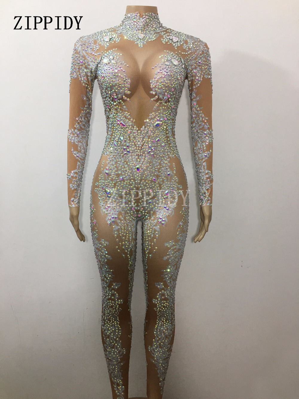2 color Glisten Blue Stones Jumpsuit Women 39 s Leggings Crystals Birthday Female Singer Show Bodysuit Nightclub Stage Wear in Chinese Folk Dance from Novelty amp Special Use