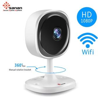 Sanan 1080P Fisheye IP Camera Wifi Mini Wireless Home Security Camera Night Vision Panoramic Camera Indoor 180 Degree