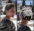 Bir-09031 2013 véus de noiva de casamento festa real chapéus birdcage véu de noiva