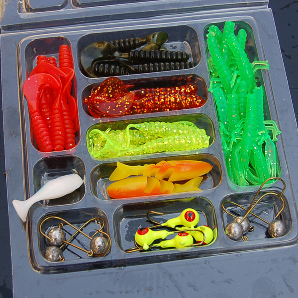 35Pcs Soft Worm Lure Carp Fishing Lure Set + 10 Lead Head Jig Hooks High Simulation Suite Soft Fishing Baits Set Tackle Pesca