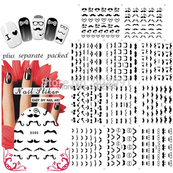 HOTSALE 90 hoja/LOT Negro Bigote Nail Art Water Transfer Sticker Decal nail art calcomanías de uñas propia + Separada embalado