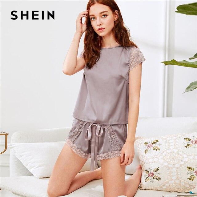 SHEIN Purple Lace Insert Knot Top & Shorts Pajama Set 2018 Casual Women  Round Neck Short