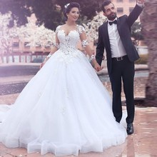 Weddings Events - Wedding Dresses - Alice 2018 Popular Dress Puffy Ball Gown Appliques Wedding Dresses Elegant Bride Gowns See Through Full Sleeves Vestido De Noiva