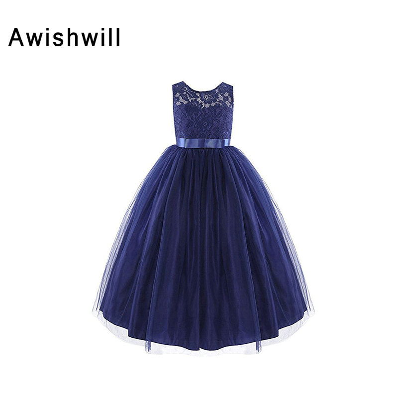 Newest Navy Blue   Flower     Girls     Dresses   Country 2019 Party Pageant   Dress   Communion   Dresses   For   Girls   Ball Gown With Bow Sash