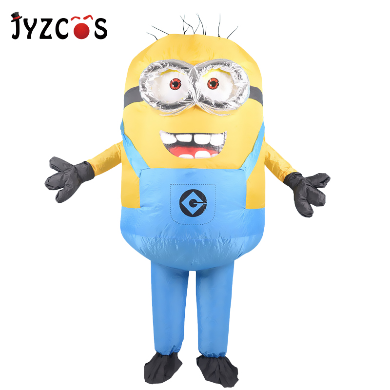JYZCOS Adult Inflatable Minion Costume Halloween Carnival Party Cosplay Costume Double Eyes Minions Mascot Fancy Dress